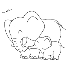 Cute Elephant Family Coloring Pages