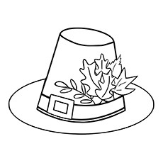Cute Pilgrim Hat of Autumn Coloring Page