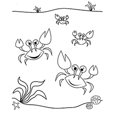 dancing sea crabs coloring pages - Crab Coloring Pages