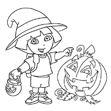 Dora With Halloween Pumpkin Image To Color For Kids
