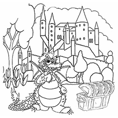 Dragon And The Castle Pic Coloring for Kids