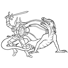 Dragon And The Knight Fighting Dancer Picture For Kids To Color