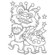 Dragon Dancer Picture for Kids to Color