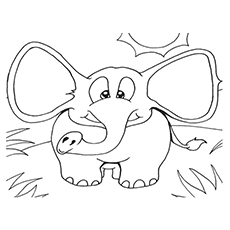 Elephant Running Coloring Pages