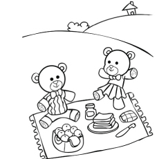 teddy bear enjoying picnic coloring pages - Bear Coloring Pages