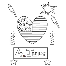 Fireworks And Heart Shaped Flag On Independence Day Of USA Coloring Page