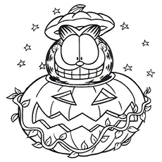 Garfield In Halloween Pumpkin Coloring Page