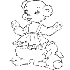 Coloring Page of Girly Teddy Printables
