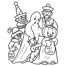 Halloween Family Picture for Kids to Color
