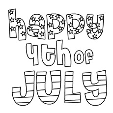Happy 4th of July Colouring Page