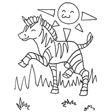 the happy zebra - Zebra Coloring Pages