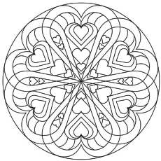 coloring page of heart mandala - Valentines Day Coloring Pages