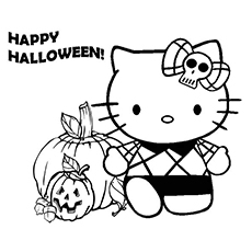 Hello Kitty Wishes Happy Halloween Coloring Page