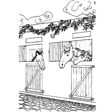 Coloring Picture of Barn Horse in Shed