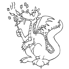 Hungry Dragon Eating Leaves Coloring Page to Print