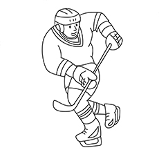 Ice Hockey Playing During Winter Coloring Sheet