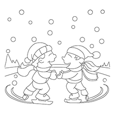 Two Friends Ice Skating In Winter Picture To Color