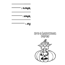 Invitation Card for Halloween Day Pic to Color
