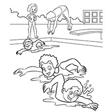 kids having fun at the swimming pool coloring pages - Coloring Pictures Of Children