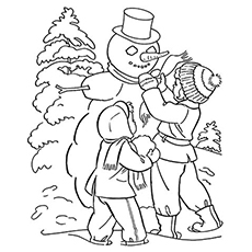 Kids Making A Snowman in Cold Season Coloring Sheet