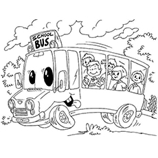 the kindergarten school bus - Free Printable Coloring Pages