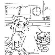 Kittens Ready to Swim Coloring Pages