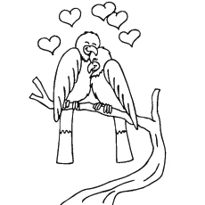 Love Birds on Valentines Day Picture to Color Free