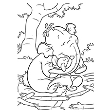 Lumpy Elephant Playing with Friend Coloring Page free Printable