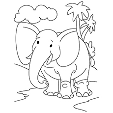 Coloring Sheet of Majestic Elephant on Walk