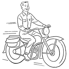 Man Riding A Motorcycle to Color
