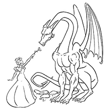 Mariposa Fairy Riding On A Dragon to Color