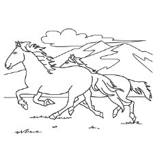 Mustang Horse Running Printable to Color