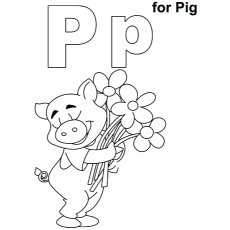 Printable Alphabet Letter P Coloring Page The For Pig