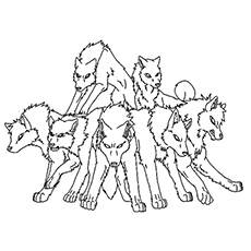 group of wolves to color