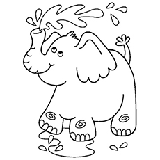 Free Printable Coloring Page of Elephant Playing with Water