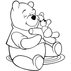 Pooh With Teddy Printable Coloring Sheet