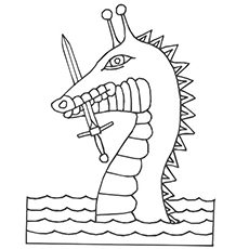 Sea Dragon with Sword in Mouth to Color