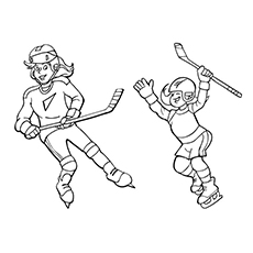 Free Printable Coloring Pages of Sisters Playing Hockey