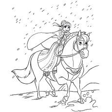 Coloring Page of Sitron Horse Walking in Rain