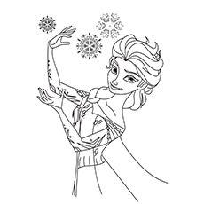 Coloring Worksheet of Snow Queen Elsa