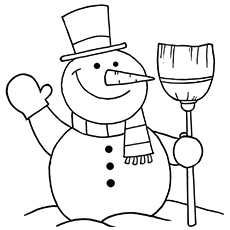 snowflake sheet snowman smiling picture to color
