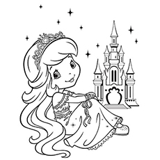 Princess and Castle of Strawberry Shortcake Cartoon Coloring Page