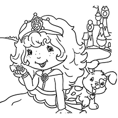 strawberry with pupcake coloring pages to print