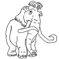 Mannie the Mammoth Elephant Coloring Page