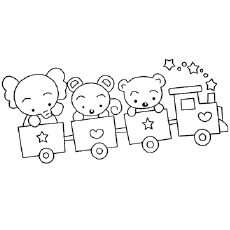 teddy bear and elephant travelling on train small play toy train coloring sheet - Train Coloring Pages