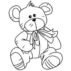 Coloring Page of Gift Teddy Bear on Valentine Day