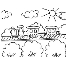 printable coloring sheet of train on a sunny day