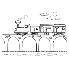 Train On The Bridge Turning Curve Coloring Pages