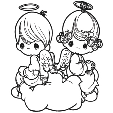 valentine angels coloring page