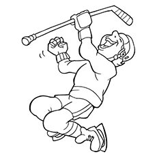 Coloring Page of Hockey Player Enjoying the moment
